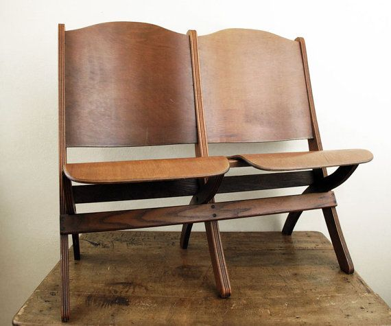 Vintage Theater Seats Folding Wood by twentytimesi, gorgeous in an office! - Vintage Theater Seats Folding Wood By Twentytimesi, Gorgeous In An