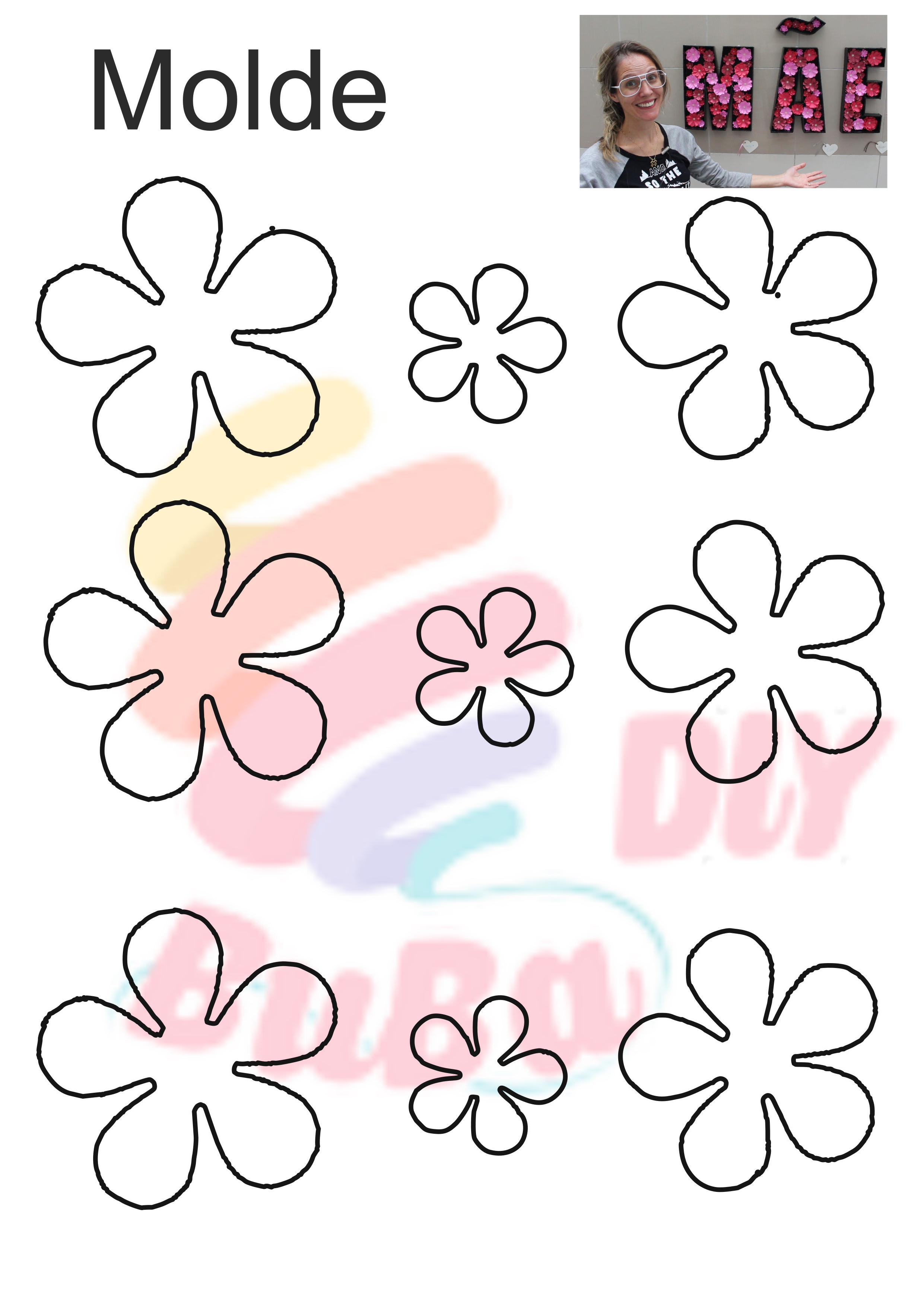 Flor de papel color set molde