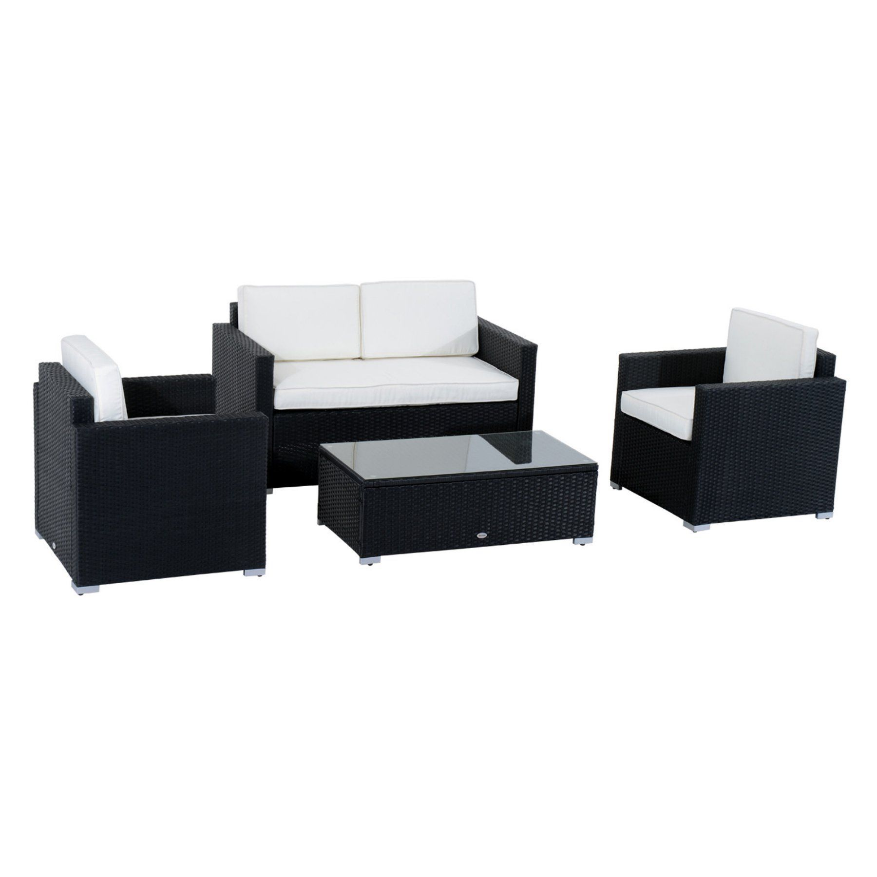 Outsunny piece cushioned outdoor rattan wicker sofa sectional