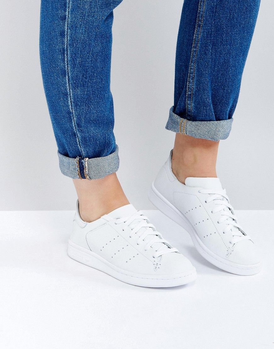 best website d2d5f ecd0f Buy it now. adidas Originals All White Stan Smith Lea Sock Trainer - White.  Trainers by Adidas, Faux-leather upper, Lace-up fastening, Branded cuff, ...