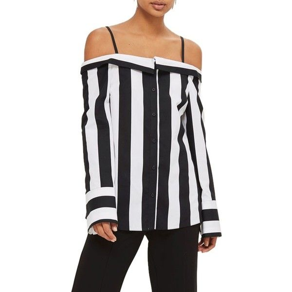 d44903d8a62ecc Women s Topshop Humbug Stripe Off The Shoulder Shirt (51 CAD) ❤ liked on  Polyvore