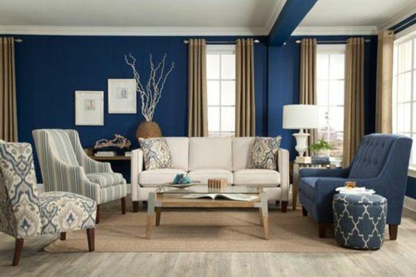 weiße lampe blaue und weiße gestaltung im modernen wohnzimmer ...