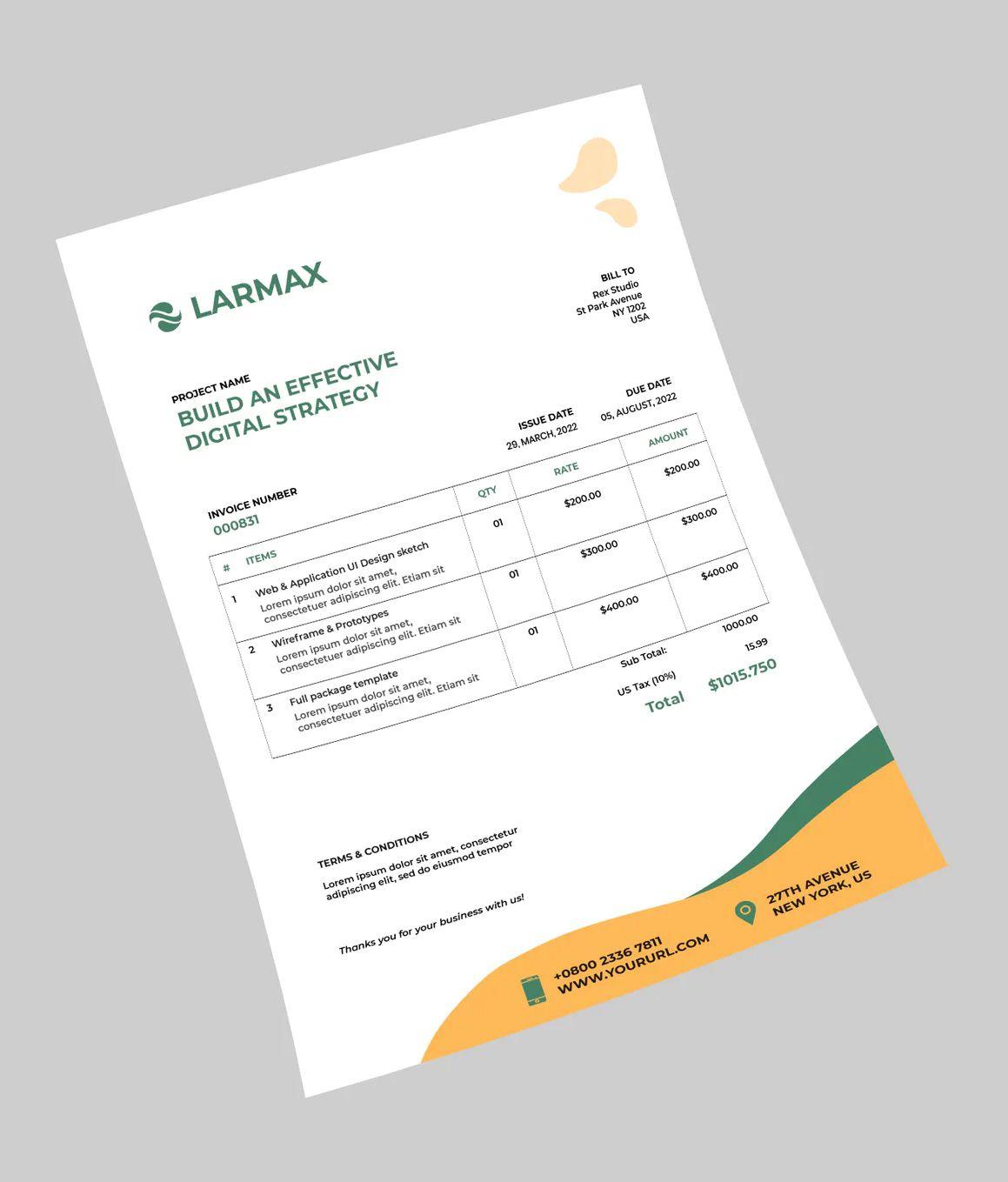 Corporate Invoice Template Psd Invoice Template Invoice Design Letterhead Design
