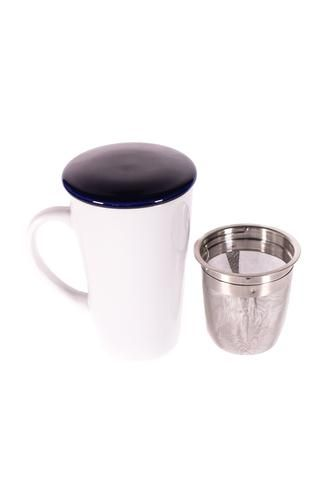 Tasse en porcelaine avec couvercle bleu marin