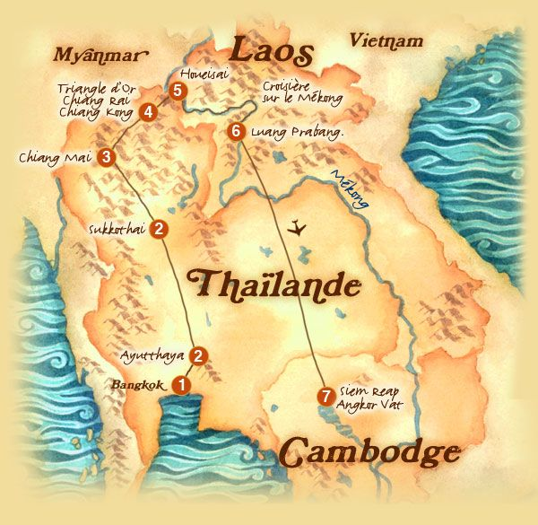 Carte - Thaïlande-Laos-Cambodge