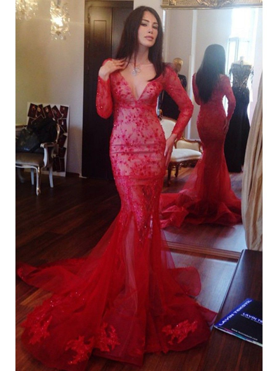Long sleeves mermaid vneck lace red prom dresses party evening