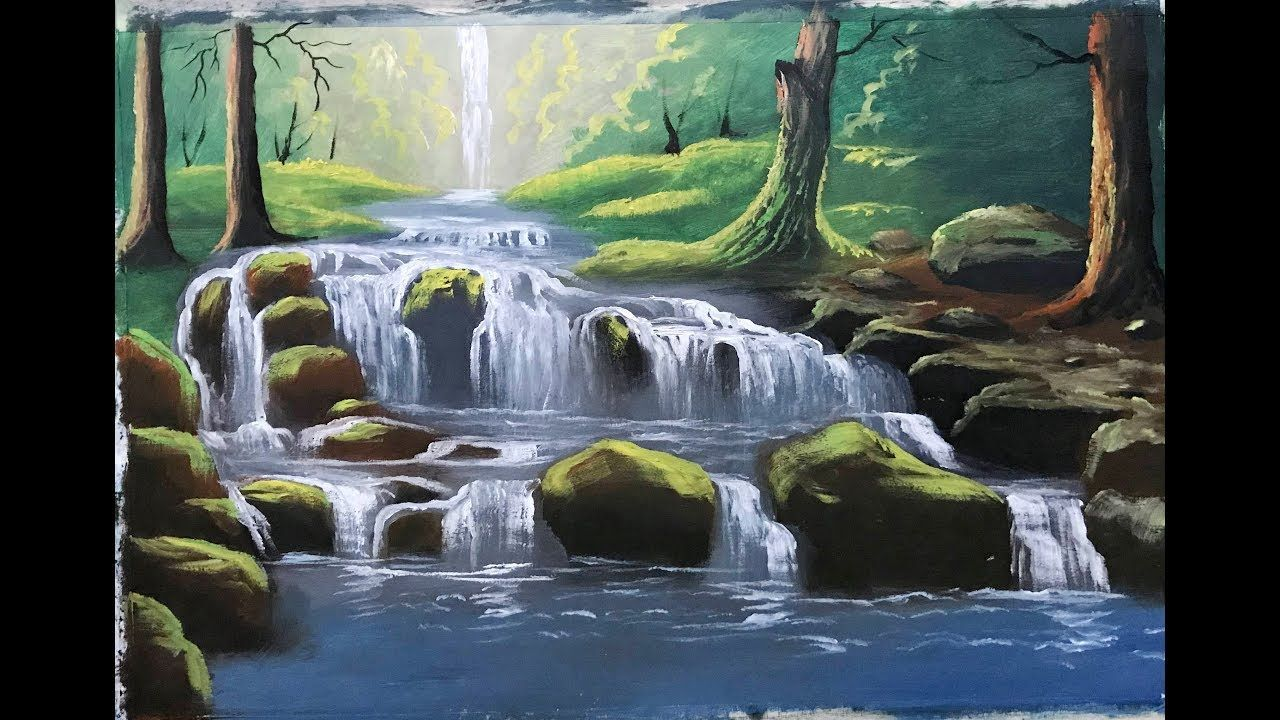 Watercolor Landscape Painting Forest Waterfall How To Draw Mountain Waterfall Scenery Forest Landscape Forest Waterfall