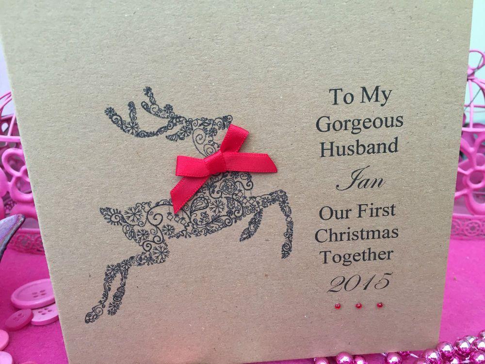 Personalised Handmade First Christmas Card Husband Wife Boyfriend Girlfriend