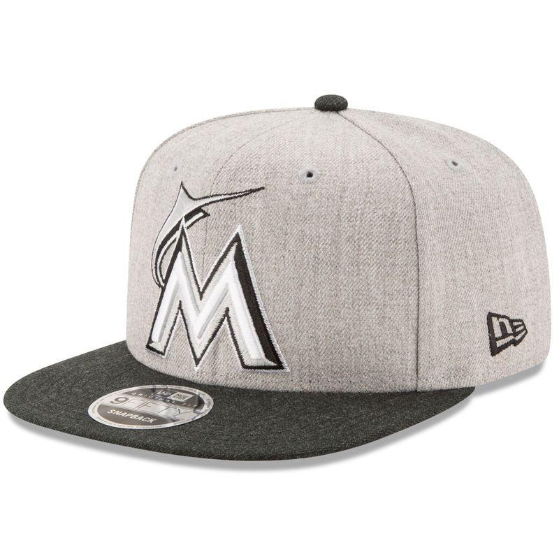 74fa1ff0 ... order miami marlins new era action original fit 9fifty adjustable snapback  hat heathered gray black 6f64f
