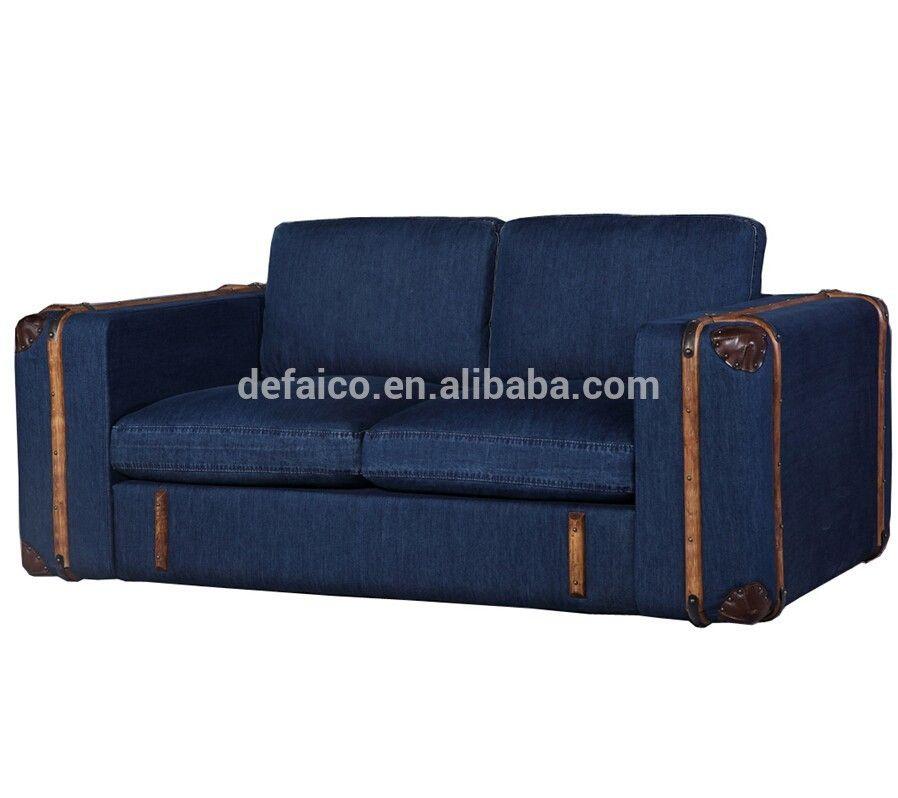 Superb Retro Rattan Vintage Jean Fabric Sofa Set Photo Detailed Machost Co Dining Chair Design Ideas Machostcouk
