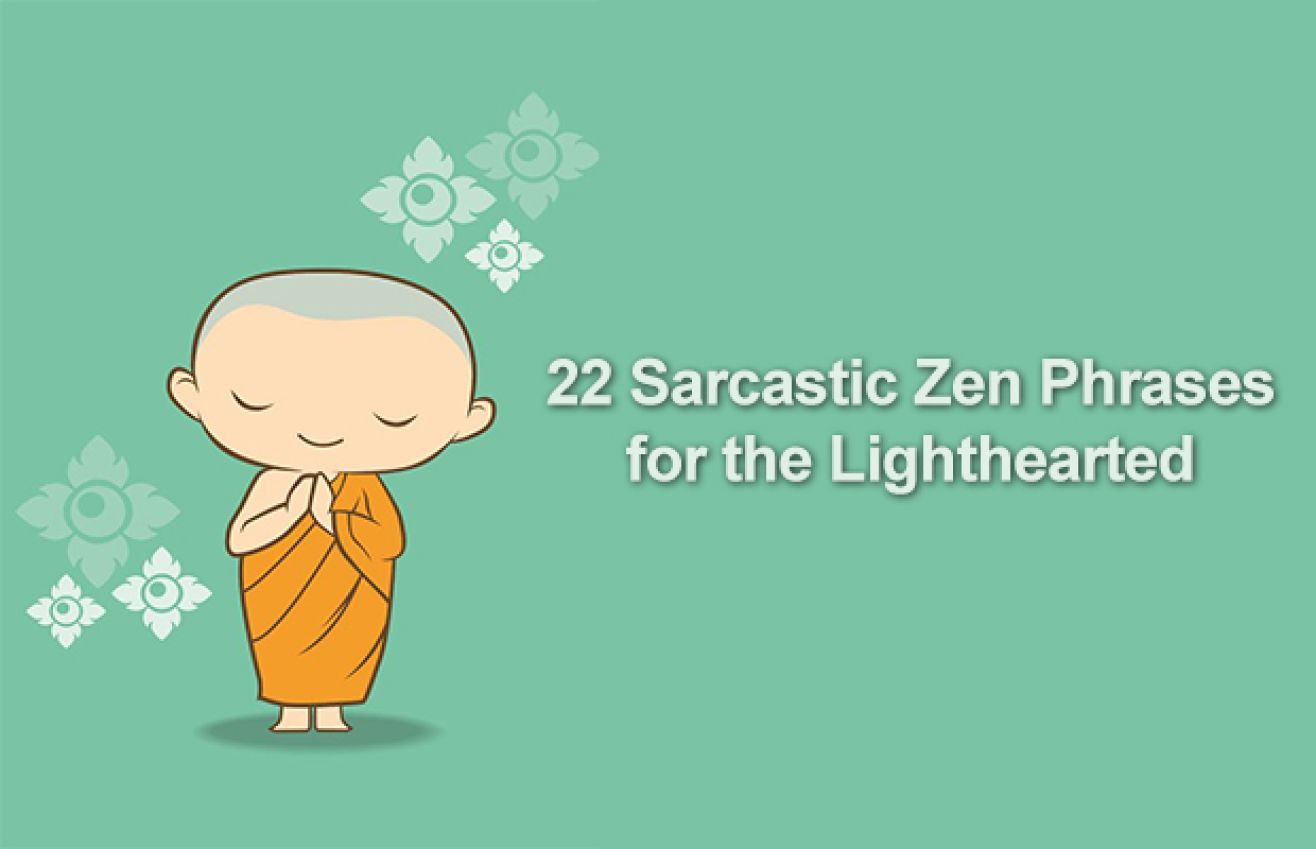 22 Lighthearted Zen Thoughts For The Sarcastic Yet Enlightened Soul Sarcastic One Liners Sarcastic One Liner Quotes