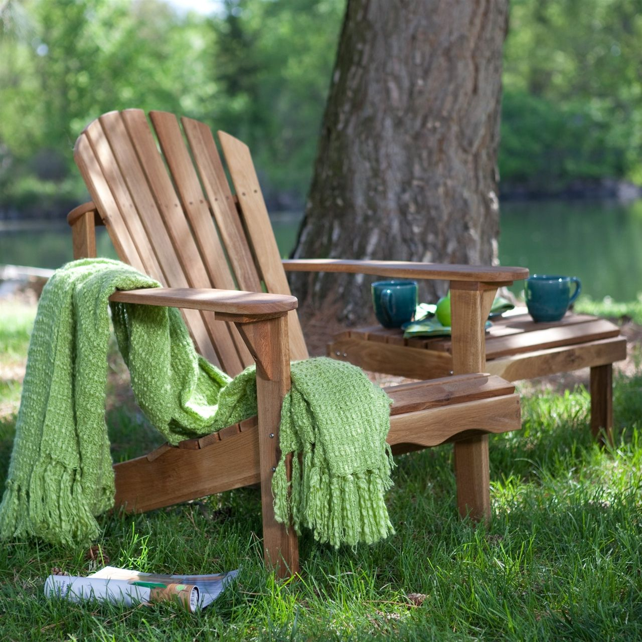 Nice Solid Oak Wood Adirondack Chair With Linseed Oil Finish   Quality House