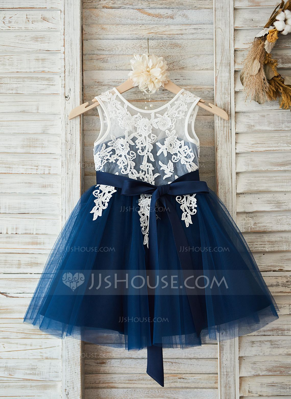 0a055981a A-Line/Princess Knee-length Flower Girl Dress - Tulle/Lace Sleeveless Scoop  Neck With Sash/V Back (Detachable sash) (010090575) - Flower Girl Dresses -  JJ's ...