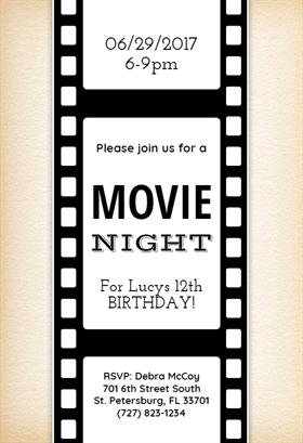 Movie Night   Free Printable Birthday Invitation Template | Greetings Island