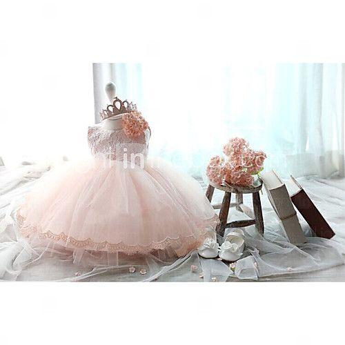 Ball Gown Knee-length Flower Girl Dress - Lace/Tulle Sleeveless - USD $44.99