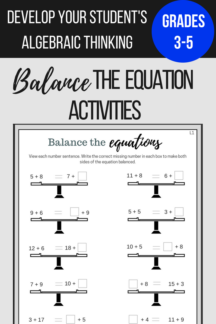 Students Will Use Their Problem Solving Skills To Answer Equations Involving Addition Subtraction And Multi Balancing Equations Equations Sentence Activities [ 1102 x 735 Pixel ]
