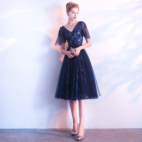 Chic / Beautiful Navy Blue Homecoming Graduation Dresses ...