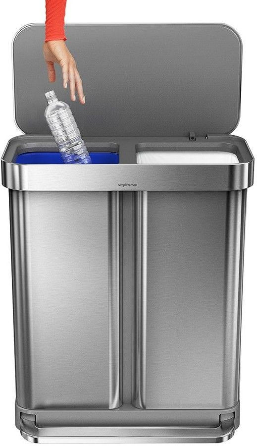 simplehuman liner pocket dual recycling and trash can 58 liters beauty for the home kitchen. Black Bedroom Furniture Sets. Home Design Ideas