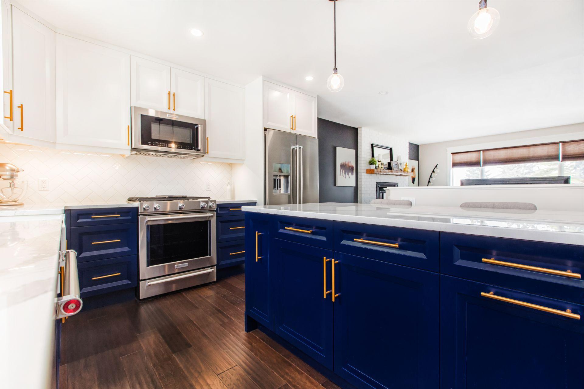 Custom Kitchen Cabinets Edmonton Ab West Wolf Design In 2021 Kitchen Cabinets Blue Kitchen Cabinets Custom Kitchen Cabinets