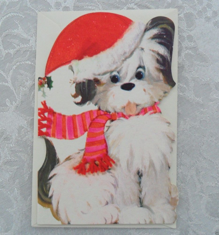 Unused Vintage Hallmark Die Cut Christmas Greeting Card Adorable