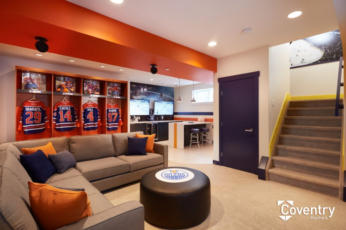 Coventry Homes Oilers Fan Cave Paisley Showhome With Images Interior Design And Remodeling Bars For Home Hockey Man Cave