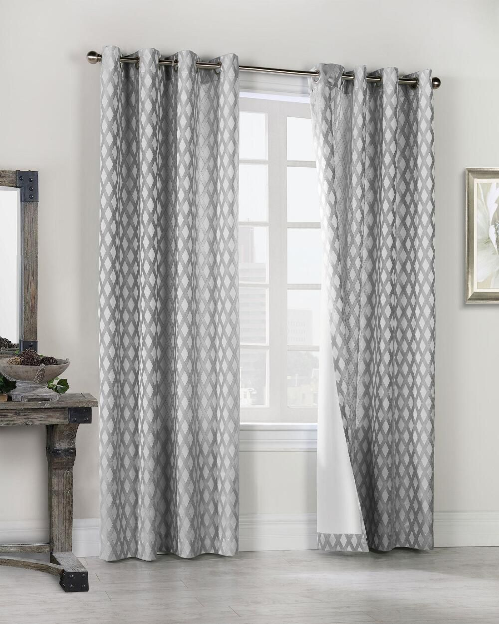 Commonwealth Criss Cross Woven Jacquard Curtain Panel