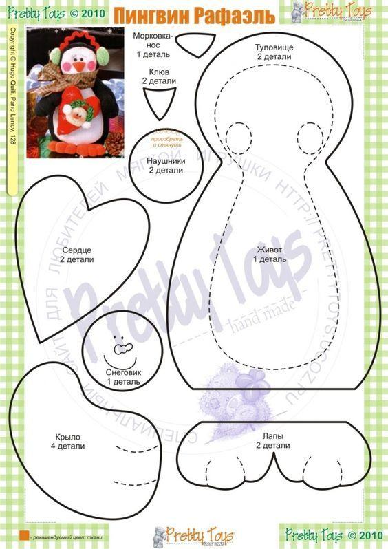 moldes-para-hacer-pinguinos-de-peluche-navidenos-4   manualidades ...