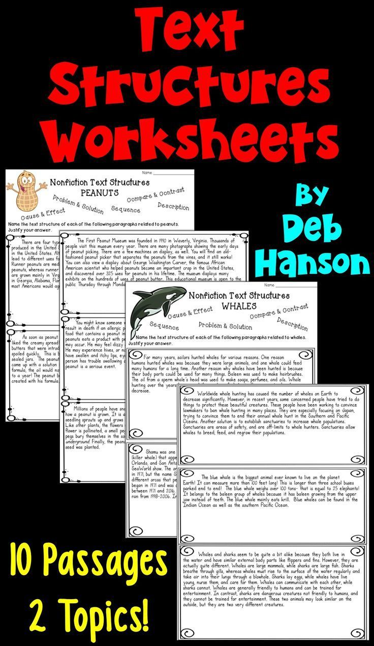 - Informational Text Structures- Two Worksheets (With Images) Text
