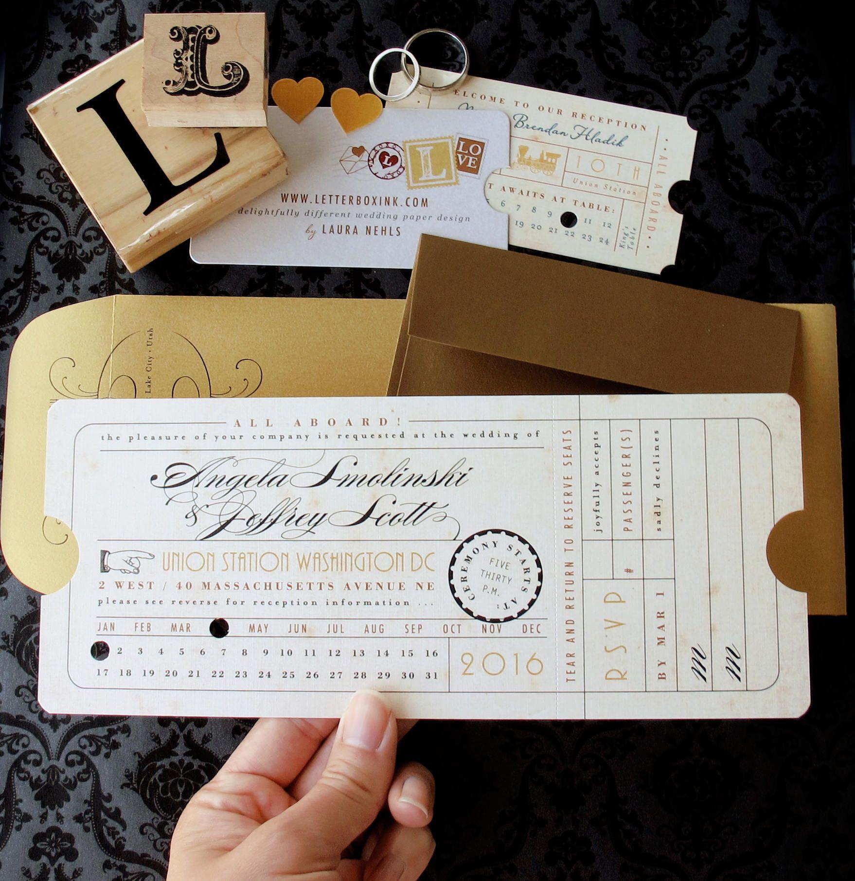 Punch Card Vintage Train Ticket Wedding Invitation - Union Station ...