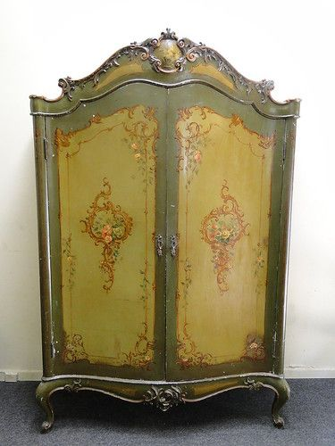 Antique French 2 Door Carved Hand Painted Bombay