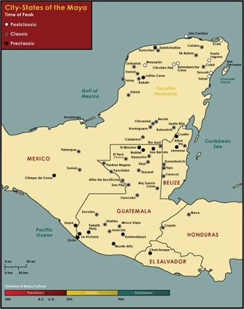 Mayan Cities Map Map of Maya City States. Image Credit: Chabot Space & Science