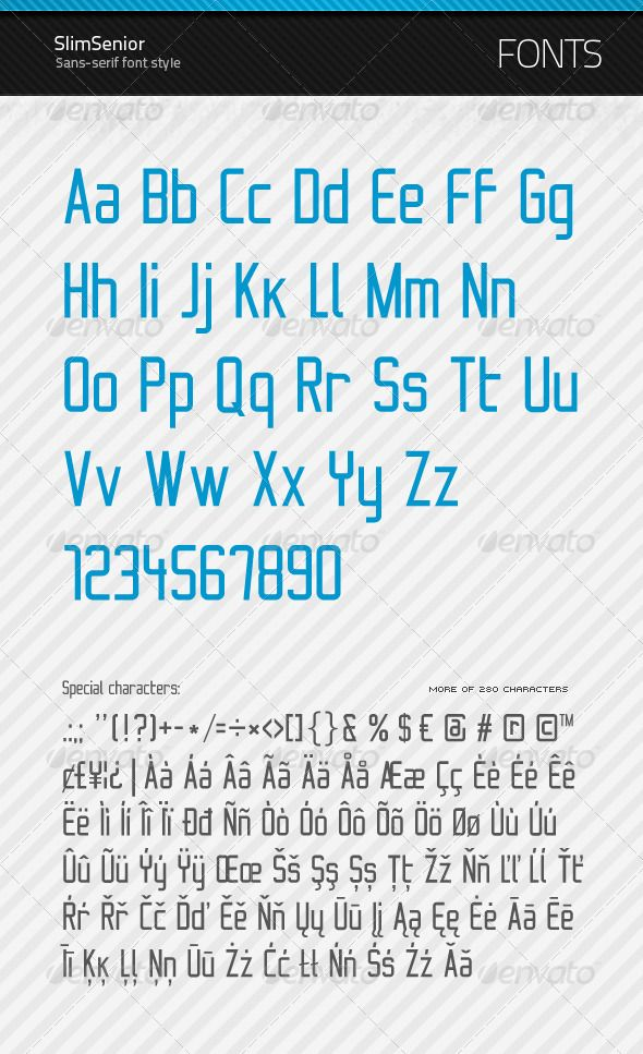 SlimSenior - True Type Font - GraphicRiver Item for Sale Fonts
