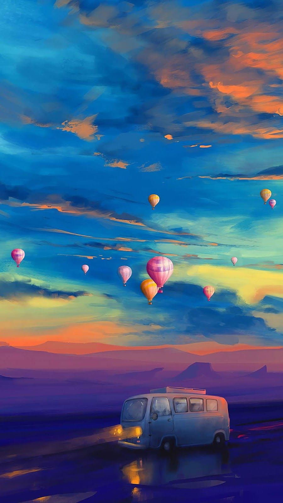 Travelling Van Art Mobile Wallpaper With Images Balloon