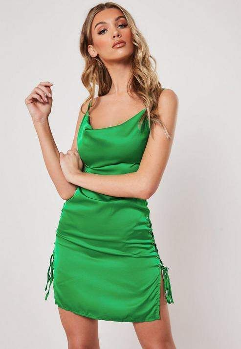 526a9545f89dab Missguided Green Cowl Front Lace Up Satin Bodycon Mini Dress in 2019 ...
