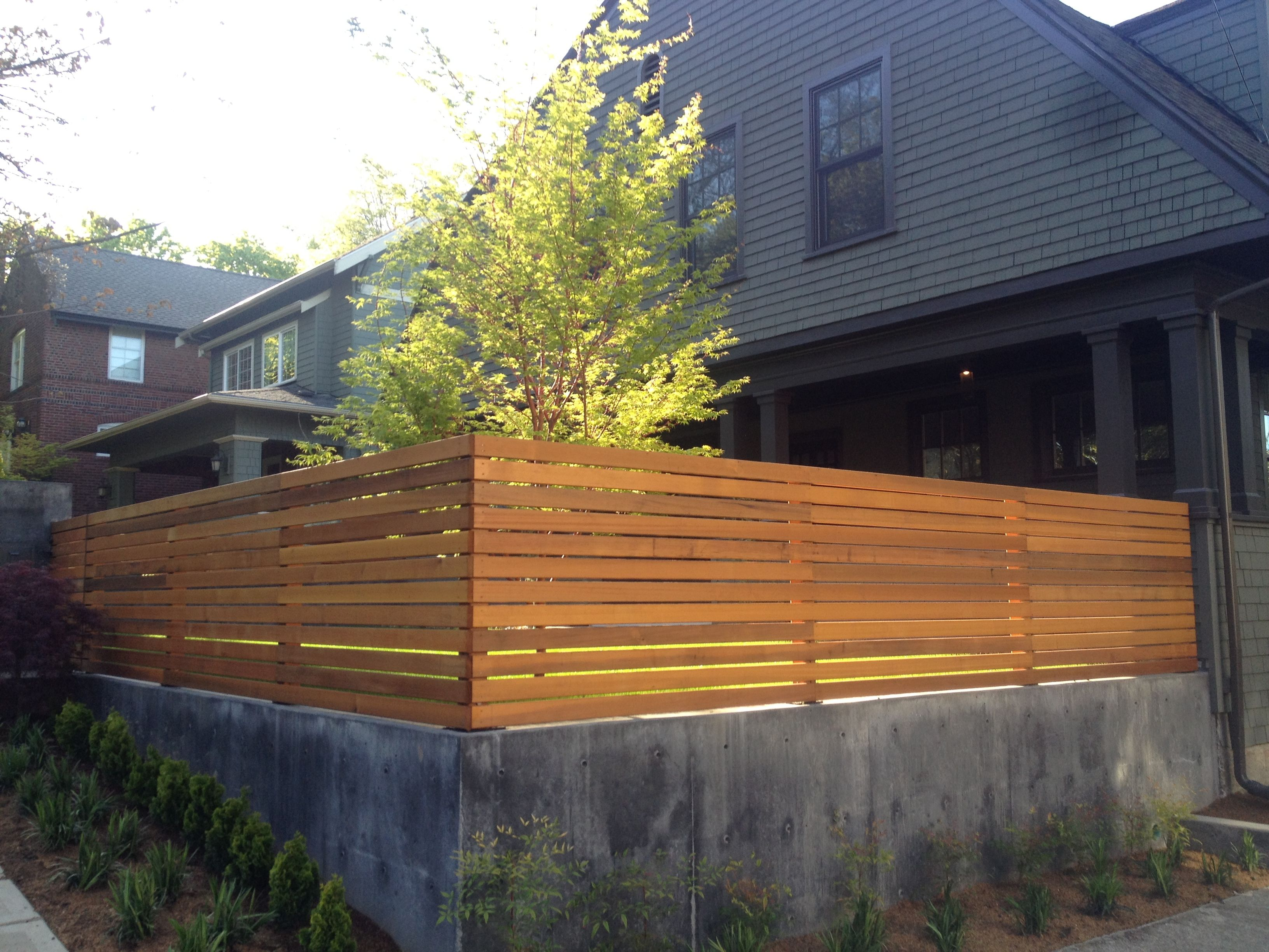 Beautiful Horizontal Screen Fence Out Of Dimensional Cedar