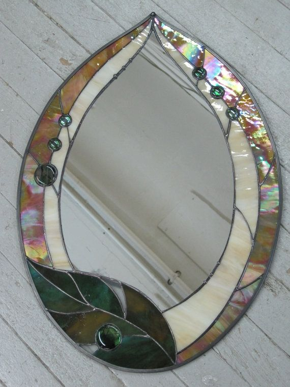 Items similar to Fun Funky Stained Glass Leaf Mirror on Etsy