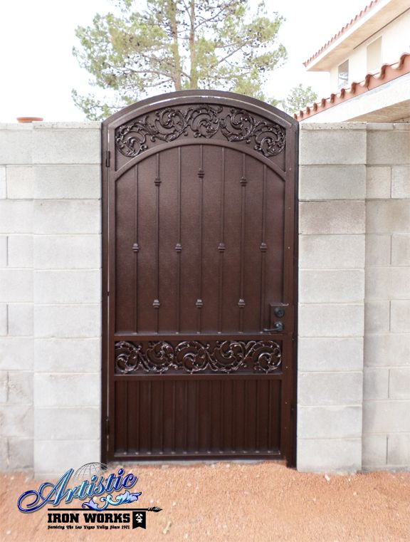 Custom arched single wrought iron gate