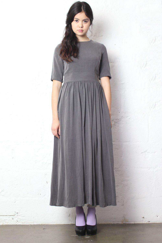 Long gathered dress grey the whitepepeper