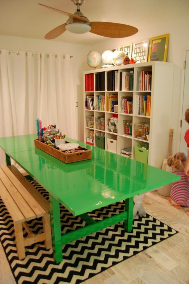 cute craft kids area homework basement idea home is where the heart is. Black Bedroom Furniture Sets. Home Design Ideas