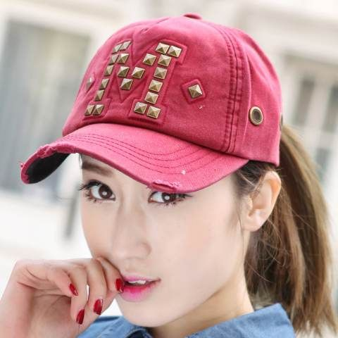 M letter studded baseball cap for women spring ripped hip hop caps ... c3df6d6ada8