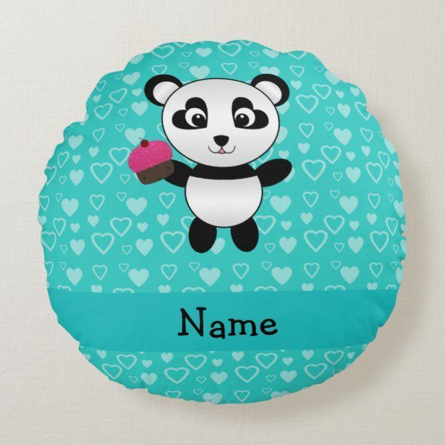 Personalized name panda cupcake turquoise hearts round pillow #pandas #animals #cute #panda #gifts #roundpillow