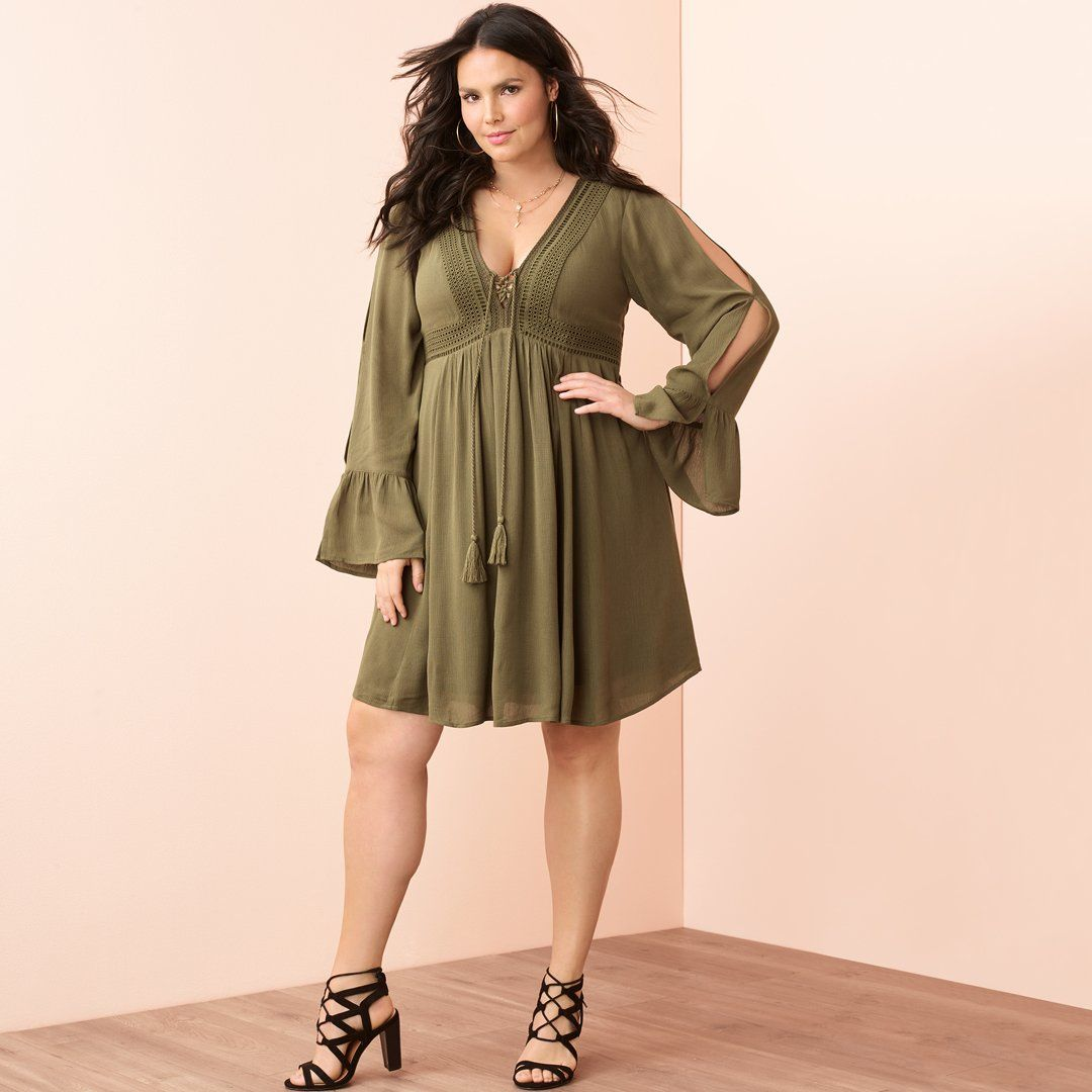 8ebbb960425 Olive Green Gauze BOHO Dress