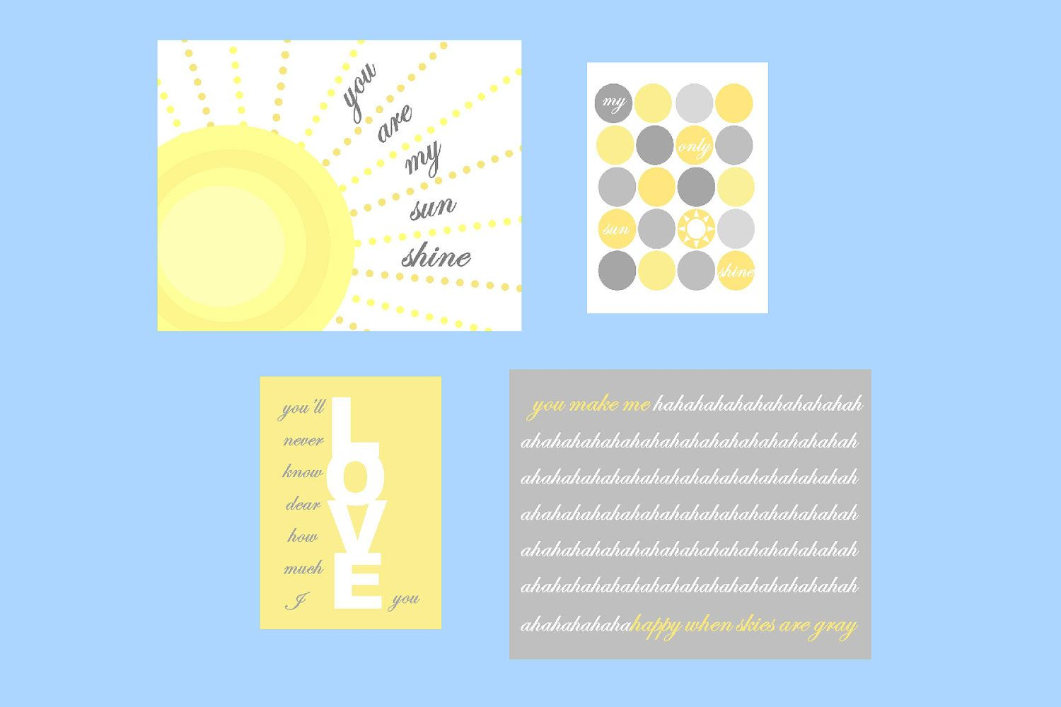"""Sale 30% Off You are my sunshine, Modern Set of Four  8x10 """"and 5x7"""" prints, nursery, or playroom, any room or as a gift. $35.00, via Etsy."""