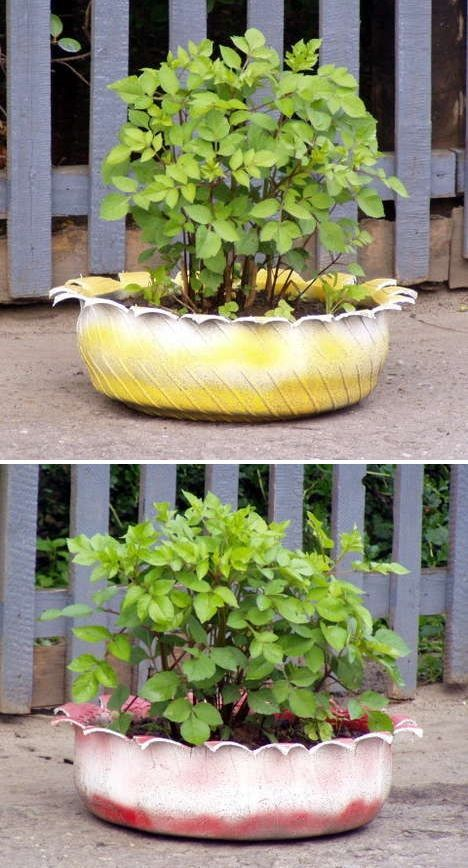 Recycled Garden Planters | Pinterest | Tire planters, Planters and ...
