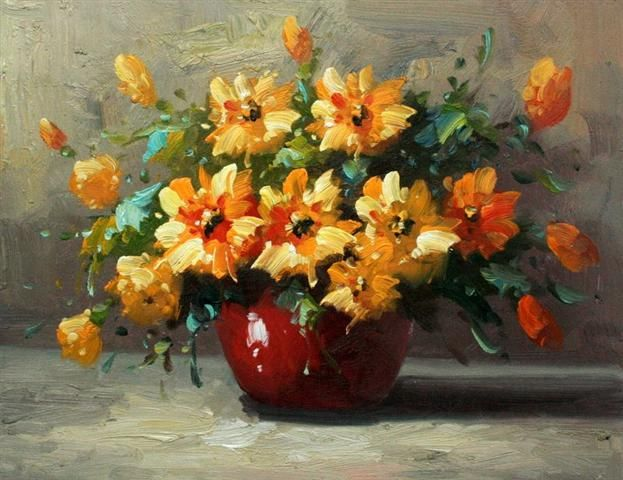A Red Vase of Yellow Flowers