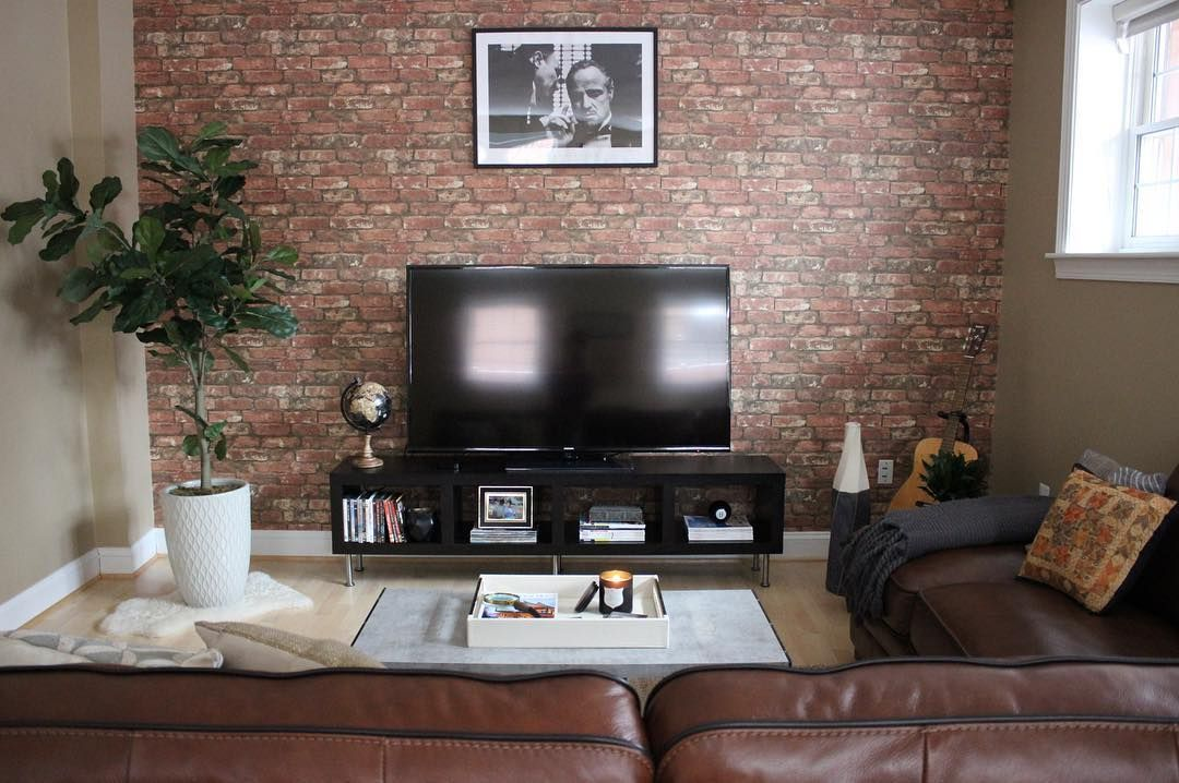 Faux Brick Wall In Masculine Living Room Using Peel And Stick Wallpaper Faux Brick Walls Masculine Living Rooms Interior