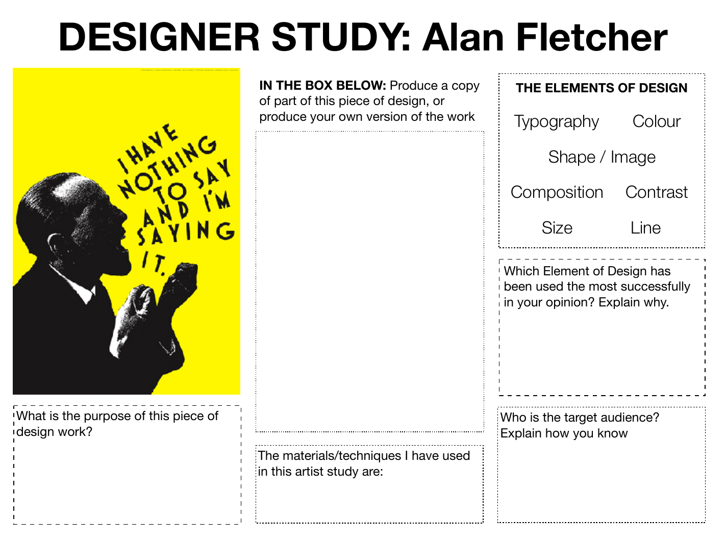Graphic Art Amp Design Research Worksheets Homework