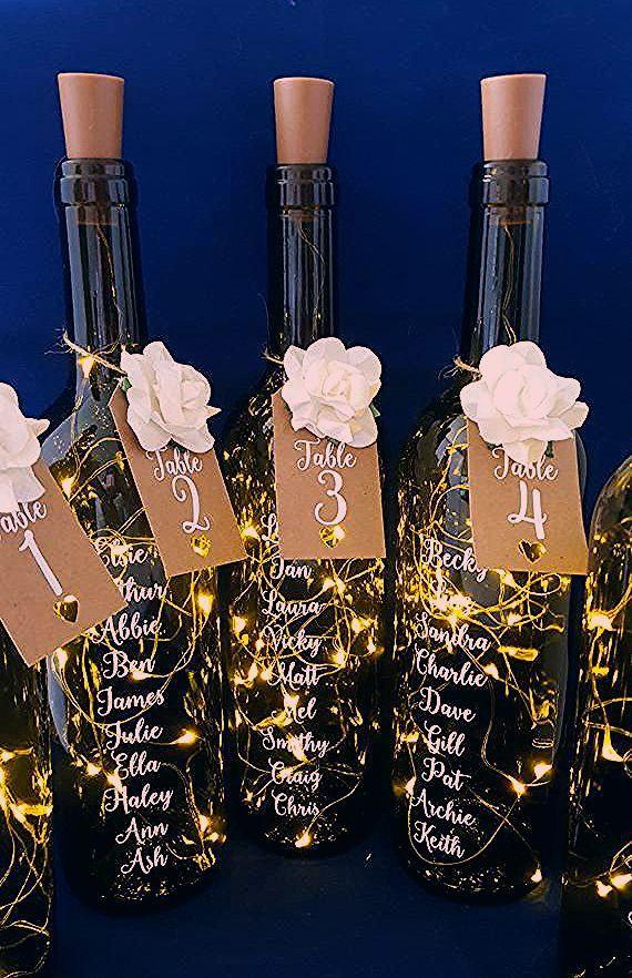 Photo of Hochzeit Tischplan Flasche Tischplan Licht Zahlen