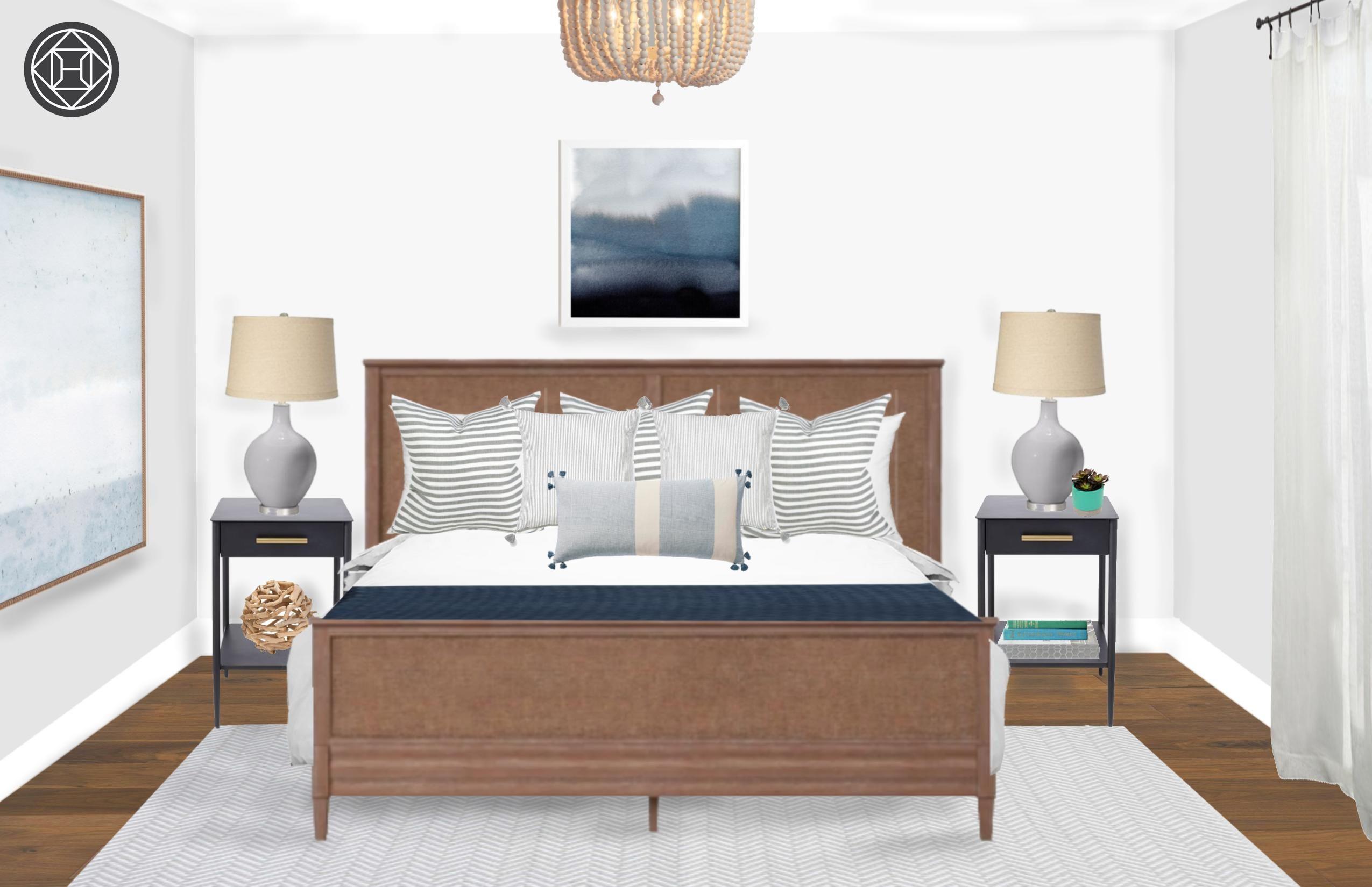Contemporary Coastal Bedroom Design By Havenly Interior Designer