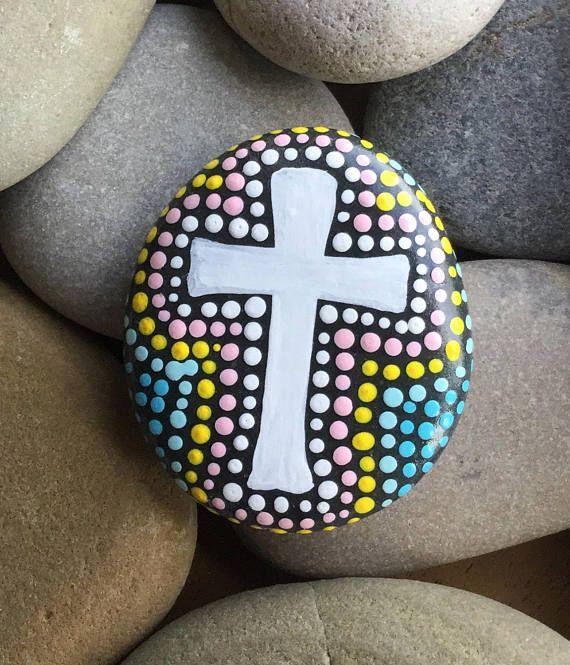 Painted Rock Design Ideas: Hand Painted Prayer Stone, Cross, Rock